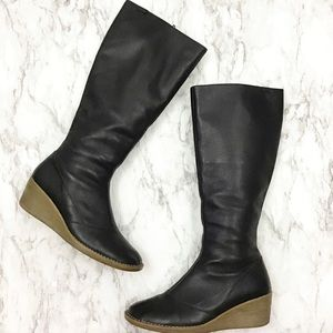 Campers Tall Black Leather Boots w/ Wedge Heel